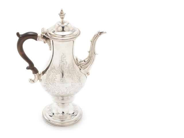 A George III  silver  coffee pot by Charles Aldridge & Henry Green, London, 1775