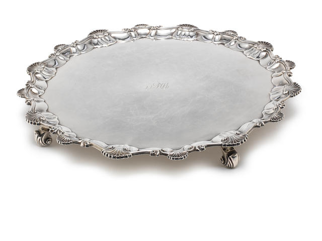 A George III silver salver by Ebenezer Coker, London 1761