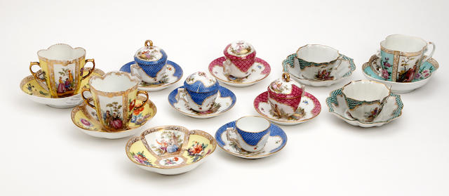 A collection of Augustus Rex style cups and saucers  Late 19th Century