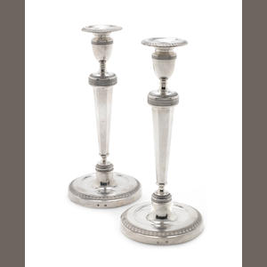 A pair of mid-19th century Belgian silver Empire-style candlesticks with 800 standard mark for 1831-68, maker's mark possibly that of Joseph Sermon, probably Brussels  (2)