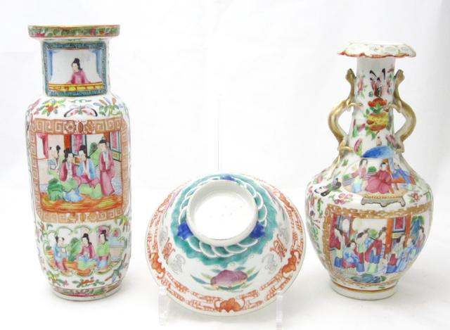 A famille rose bowl and two Canton export vases 19th century