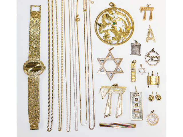 A collection of gold and gilt metal jewellery,