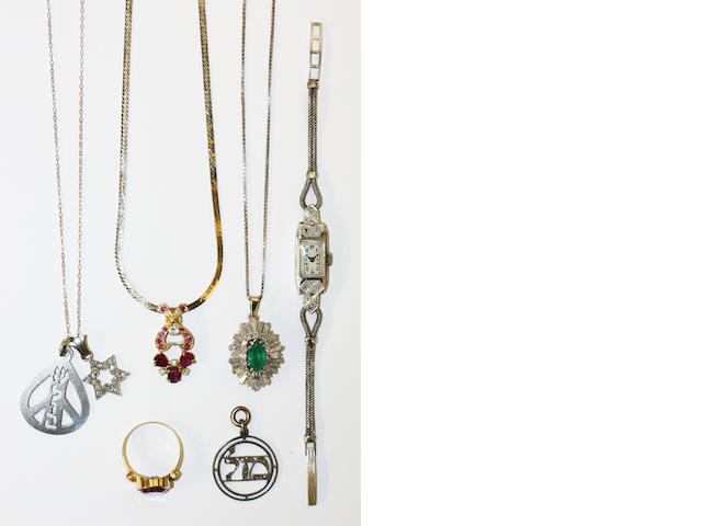 A small collection of gem set jewellery,