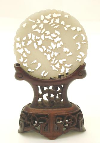 A jade plaque and stand 19th century