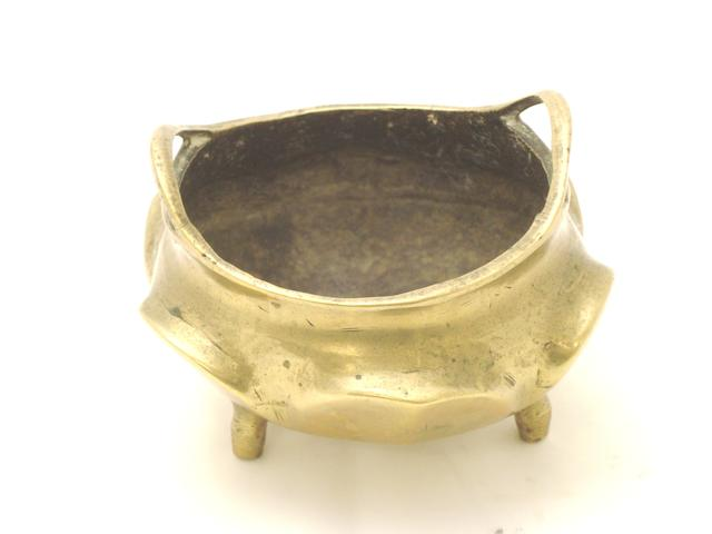 A polished bronze censer Bearing a Xuande six character mark but 19th century
