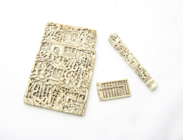 A Canton export ivory card case, needle holder and a miniature abacus 19th century