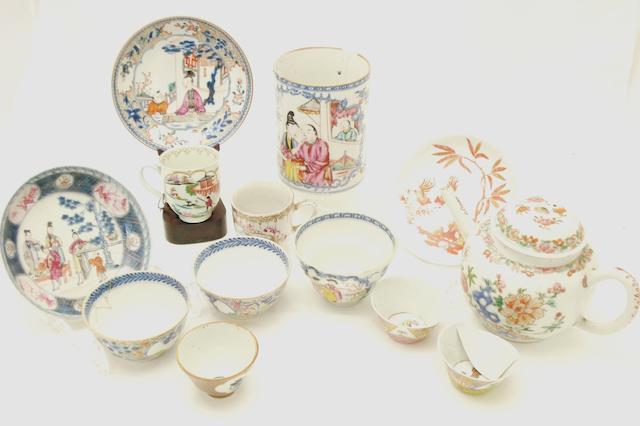 A collection of famille rose tea ware 18th century