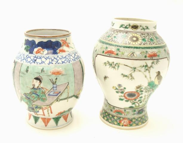 Two small famille verte vases 19th century