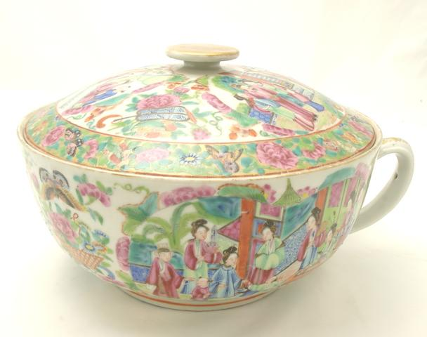 A Canton export famille rose vessel and cover 19th century