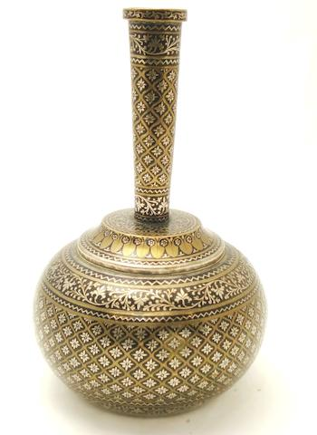 An Indian Bidri ware water bottle 19th century