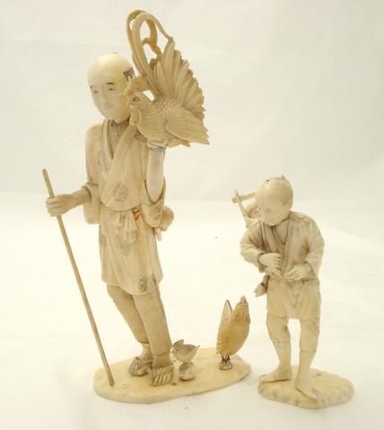 Two sectional ivory farmers Meiji