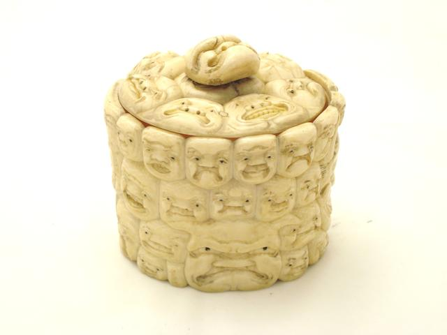 An ivory circular box and cover Meiji