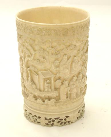A Canton export ivory brush pot 19th century