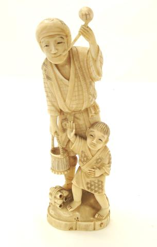 A marine ivory figure group Meiji