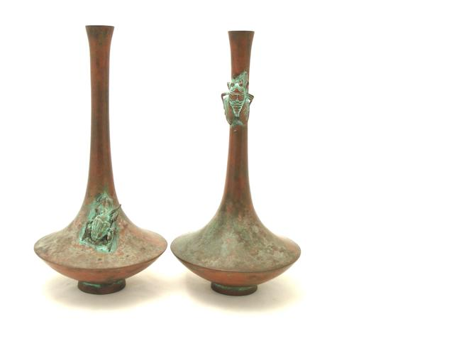 A pair of bronze vases 19th century