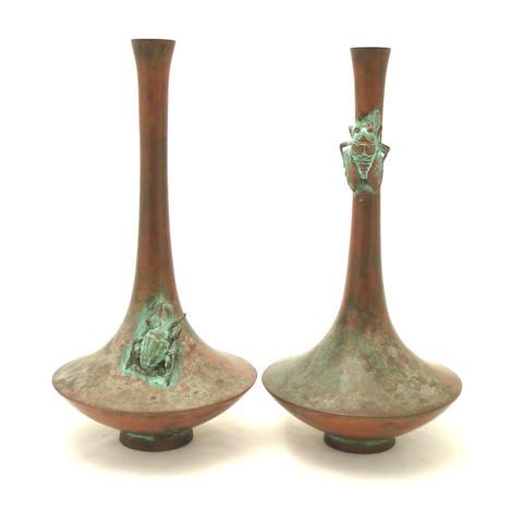 A pair of bronze vases 19th century