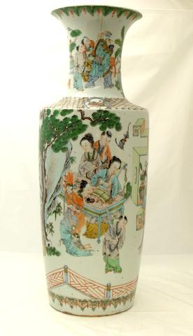 A large famille verte vase Probably 19th century