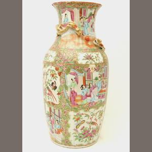 A Canton export famille rose vase  19th century