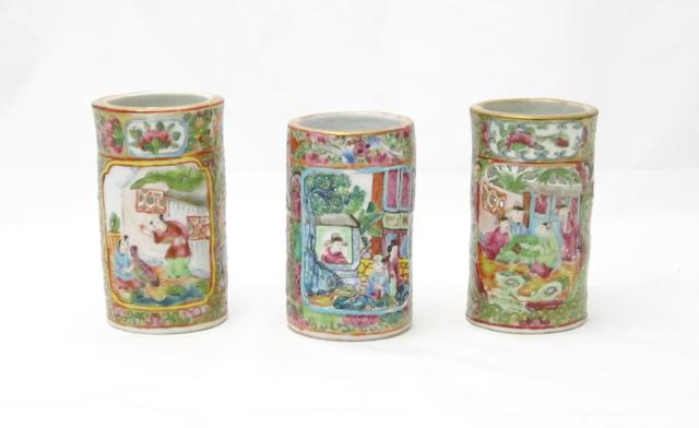 Three famille rose brushpots 19th century