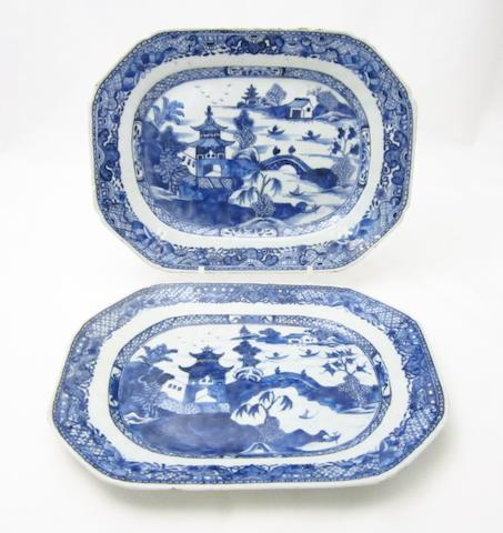 A pair of export blue and white dishes 18th century