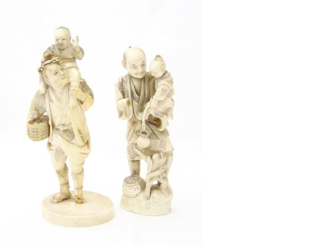 Two sectional marine ivory figure groups Meiji