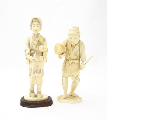 Two sectional marine ivory figures Meiji