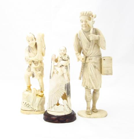 A sectional carved bone figure of a musician and two marine ivory carvings Meiji