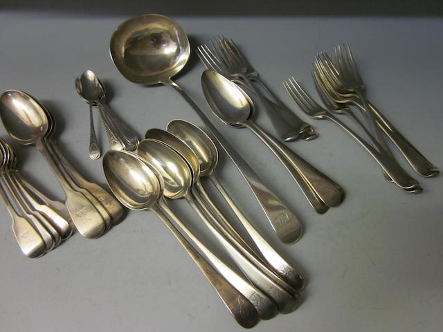 Six bottom marked silver Hanoverian tablespoons,  marks rubbed,