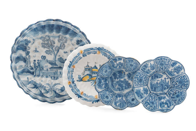 Four Dutch Delft dishes, late 17th-early 18th century