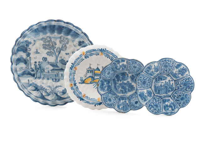Four Dutch Delft dishes