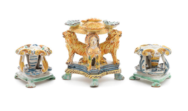 A pair of South Italian salts and a large southern Italian salt, late 17th century