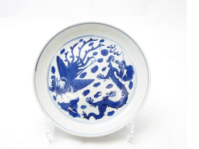 A blue and white saucer Bearing Wanli six character mark but 19th century