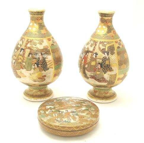 A pair of Satsuma vases and a pot with cover Meiji