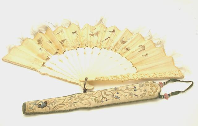 A Canton export ivory and silk fan and case 19th century