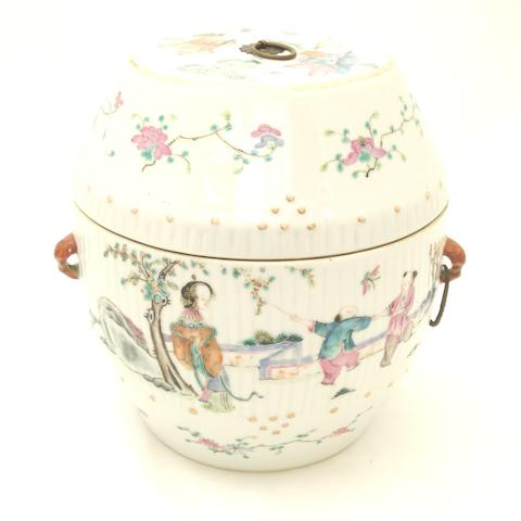 A famille rose food vessel and cover Circa 1900