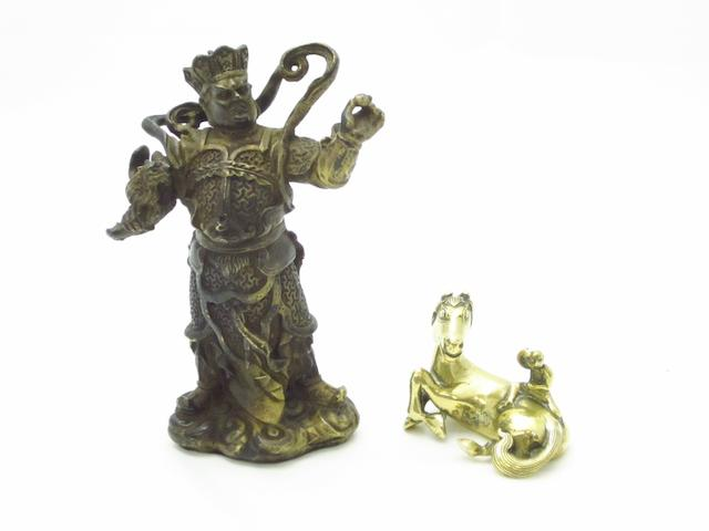 A bronze warrior and pen rest Late Qing