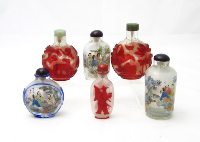 Three overlaid glass and three inside painted snuff bottles Early 20th century