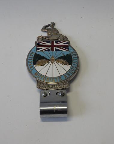 A National Motorists Association enamel members badge, 1930s, British,