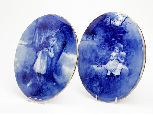 A pair of Doulton Burslem 'Blue Children' Series plaques Circa 1905