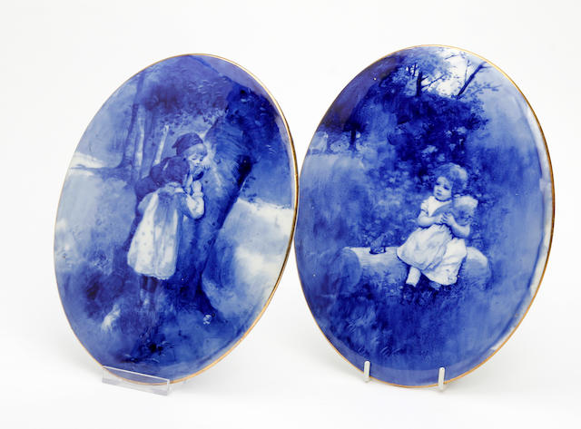 A pair of Doulton Burslem 'Blue Children' Series plaques Circa 1905