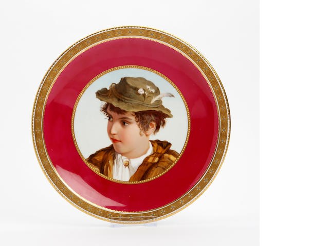 A Derby cabinet plate, signed Platts  Circa 1880-90