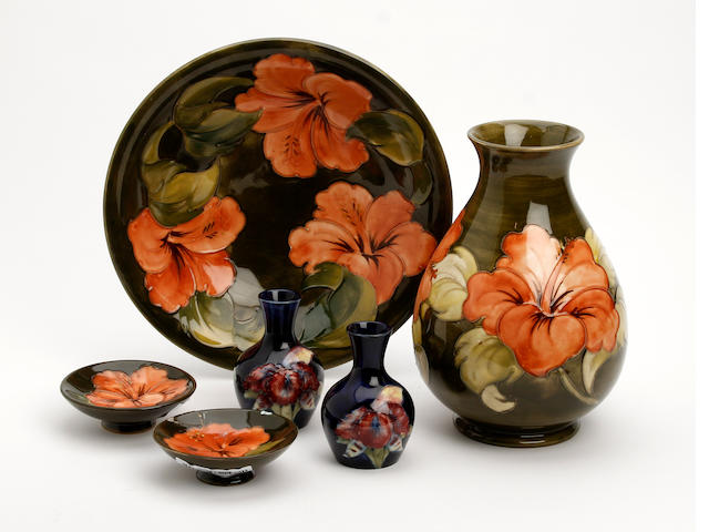 A collection of Walter Moorcroft items
