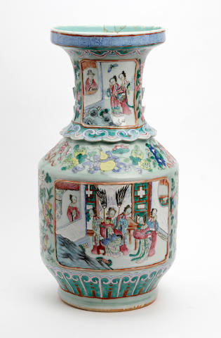 A Canton famille rose vase  19th Century