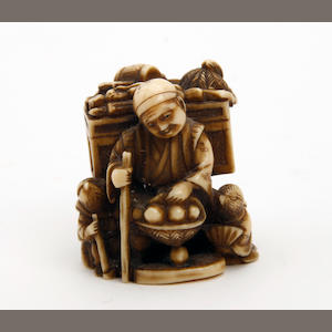A Japanese carved ivory netsuke 19th Century