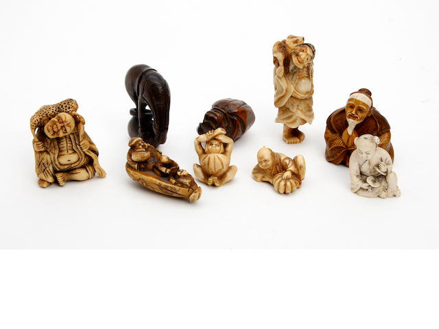 A Collection of nine various netsuke 19th/20th Century