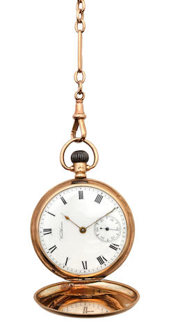 A 9ct gold hunter pocket watch, by Waltham, and an Albert chain (2)