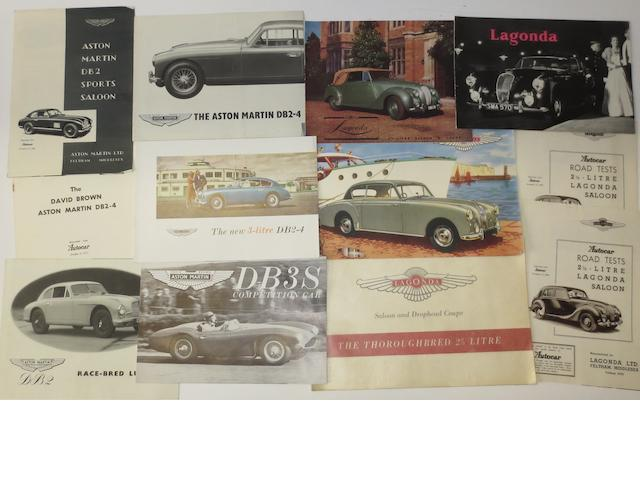 Aston Martin and Lagonda brochures,