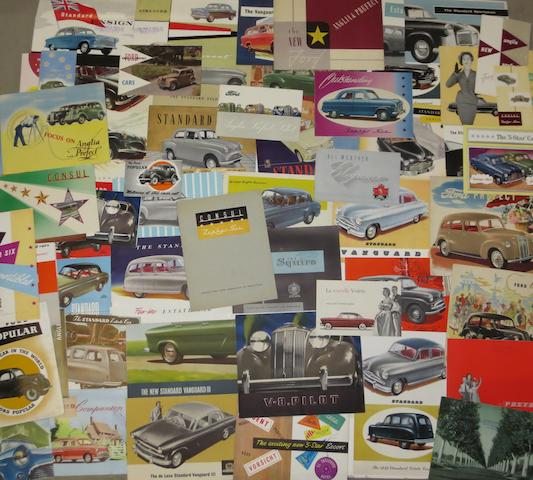 A quantity of sales brochures for Ford and Standard,