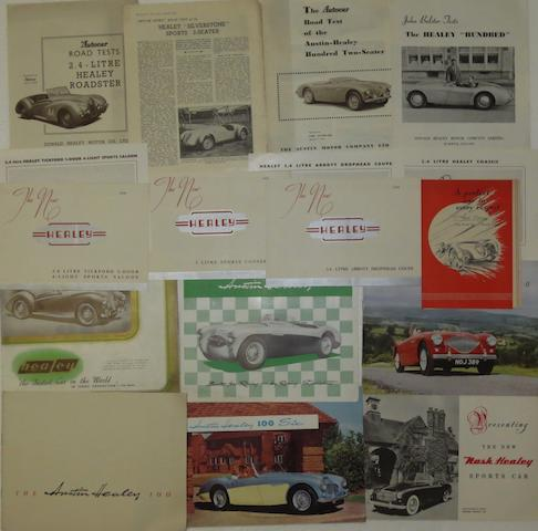 Sales brochures for Healey cars,