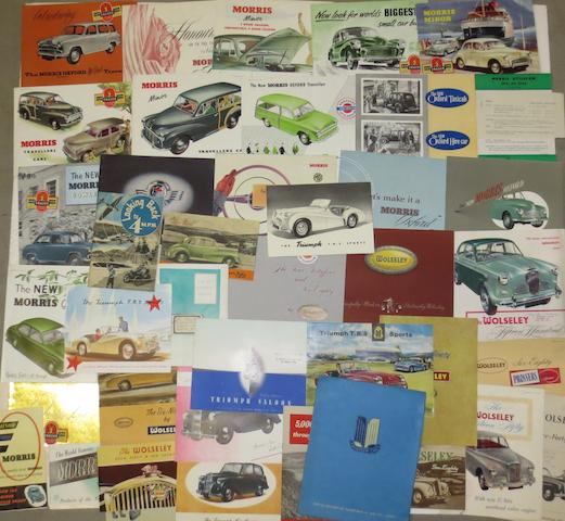 A quantity of sales literature for Triumph, Wolseley and Morris,